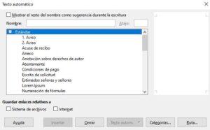 Texto aleatorio y automático en LibreOffice Writer