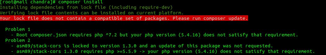 Composer install error en servidor plesk