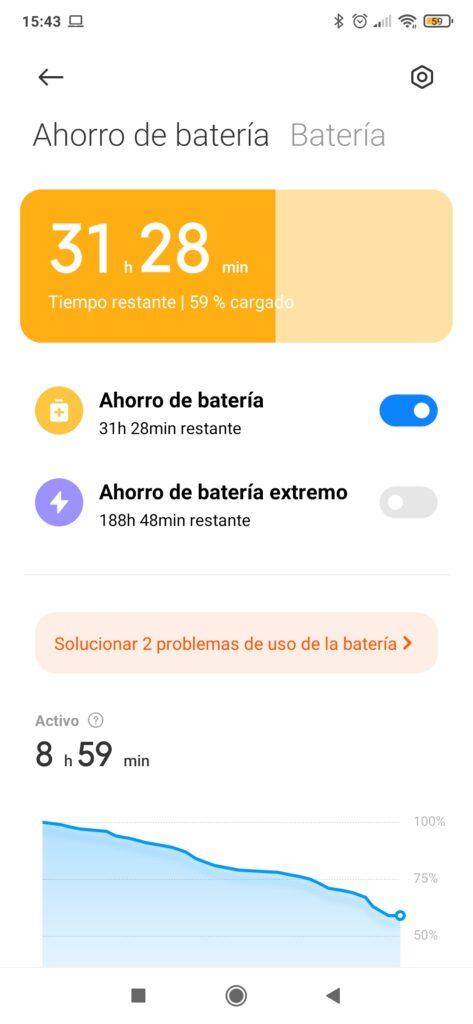 Modo ahorro de batería activo en un móvil Xiaomi