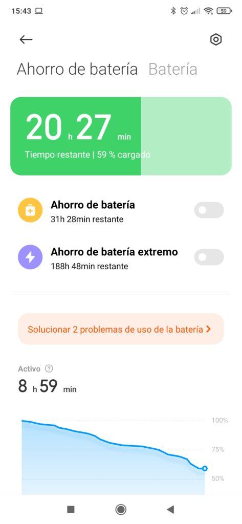 Modo ahorro de batería inactivo en un móvil Xiaomi